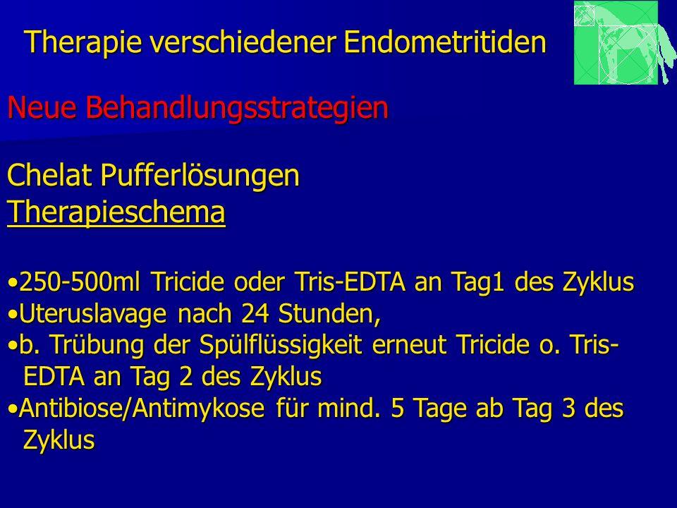Therapie verschiedener Endometritiden Neue Behandlungsstrategien Chelat Pufferlösungen Therapieschema 250-500ml Tricide oder Tris-EDTA an Tag1 des Zyk