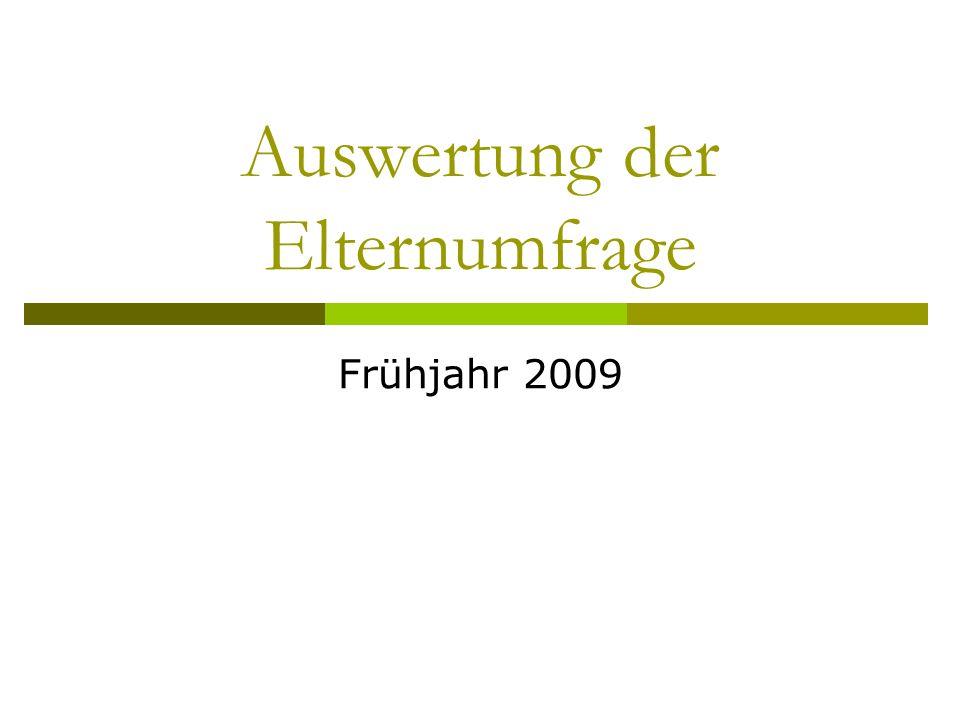 Auswertung der Elternumfrage Frühjahr 2009