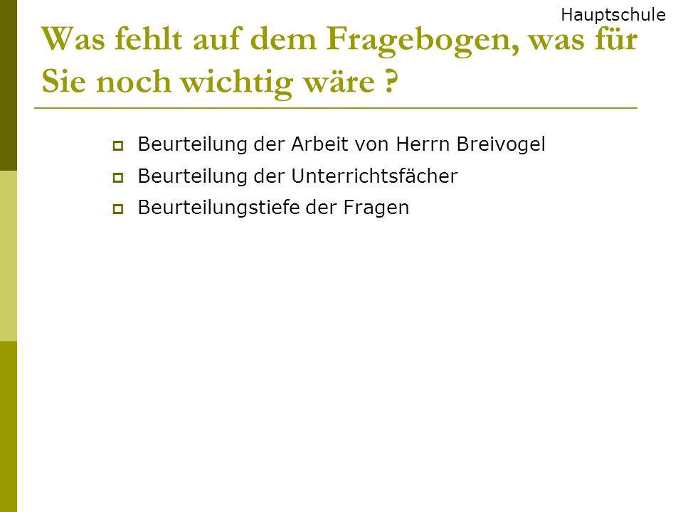 Was fehlt auf dem Fragebogen, was für Sie noch wichtig wäre ? Beurteilung der Arbeit von Herrn Breivogel Beurteilung der Unterrichtsfächer Beurteilung