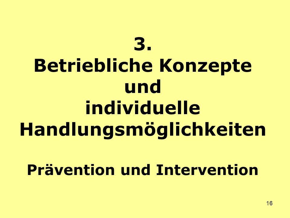 16 3. Betriebliche Konzepte und individuelle Handlungsmöglichkeiten Prävention und Intervention