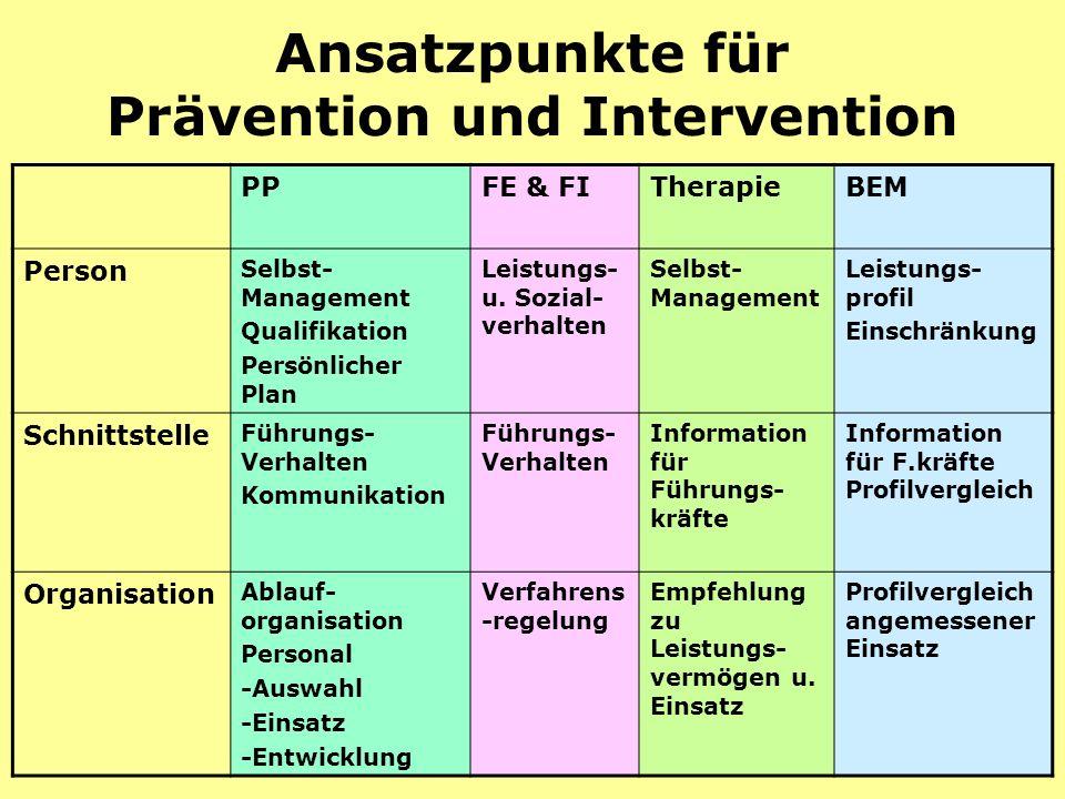 modul 219 Ansatzpunkte für Prävention und Intervention PPFE & FITherapieBEM Person Selbst- Management Qualifikation Persönlicher Plan Leistungs- u.