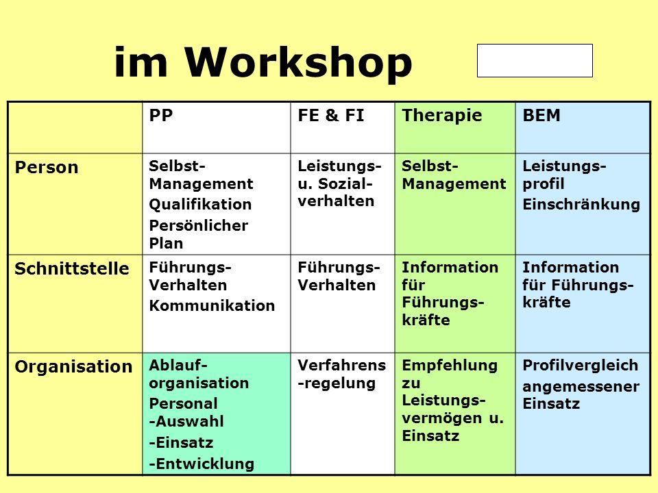 Prävention21 im Workshop PPFE & FITherapieBEM Person Selbst- Management Qualifikation Persönlicher Plan Leistungs- u.