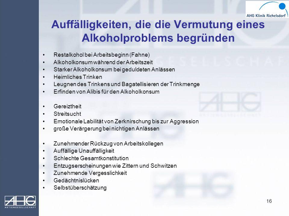 16 Auffälligkeiten, die die Vermutung eines Alkoholproblems begründen Restalkohol bei Arbeitsbeginn (Fahne) Alkoholkonsum während der Arbeitszeit Star