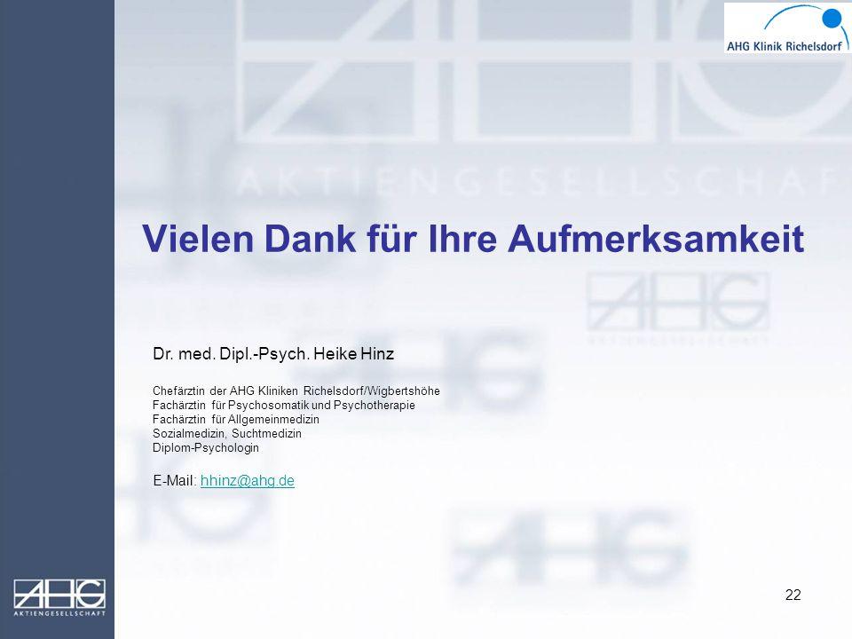 22 Vielen Dank für Ihre Aufmerksamkeit Dr. med. Dipl.-Psych. Heike Hinz Chefärztin der AHG Kliniken Richelsdorf/Wigbertshöhe Fachärztin für Psychosoma