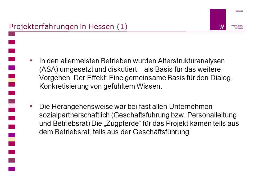 Projekterfahrungen in Hessen (1) In den allermeisten Betrieben wurden Alterstrukturanalysen (ASA) umgesetzt und diskutiert – als Basis für das weitere