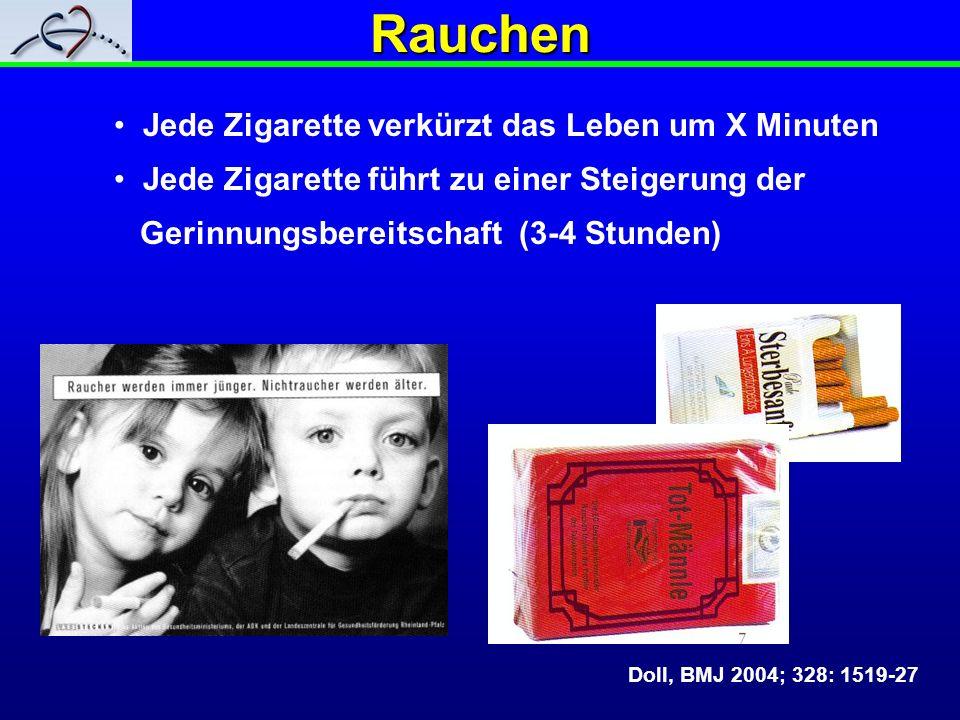 Rauchen Jede Zigarette verkürzt das Leben um X Minuten Jede Zigarette führt zu einer Steigerung der Gerinnungsbereitschaft (3-4 Stunden) Doll, BMJ 200