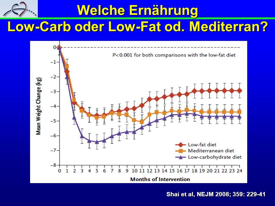 Welche Ernährung Low-Carb oder Low-Fat od. Mediterran? Shai et al, NEJM 2008; 359: 229-41