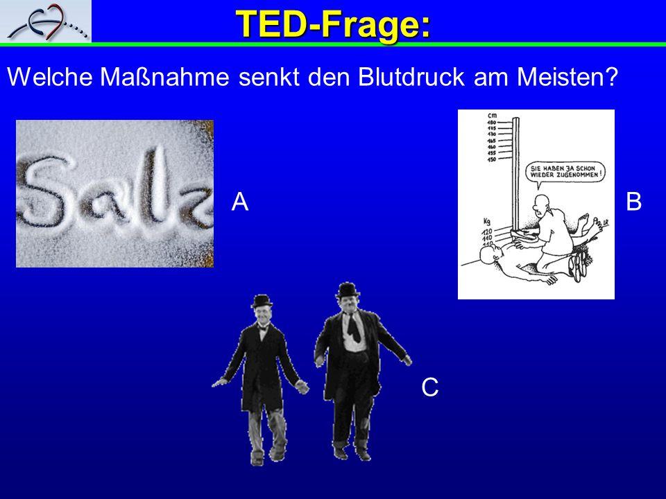 TED-Frage: Welche Maßnahme senkt den Blutdruck am Meisten? A B C