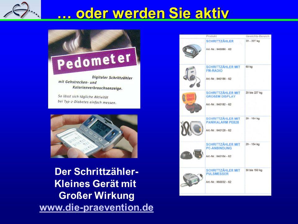 … oder werden Sie aktiv Der Schrittzähler- Kleines Gerät mit Großer Wirkung www.die-praevention.de