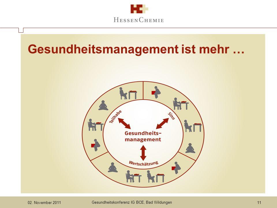 Gesundheitskonferenz IG BCE, Bad Wildungen 11 Gesundheitsmanagement ist mehr …