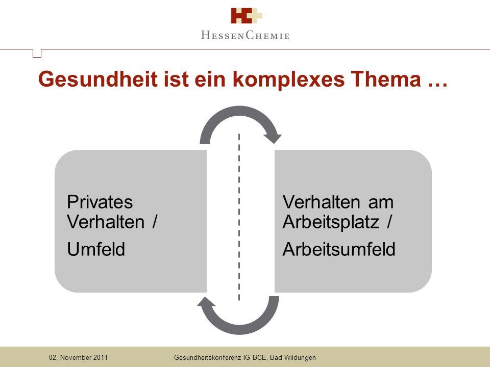 Gesundheit ist ein komplexes Thema … Privates Verhalten / Umfeld Verhalten am Arbeitsplatz / Arbeitsumfeld Gesundheitskonferenz IG BCE, Bad Wildungen02.