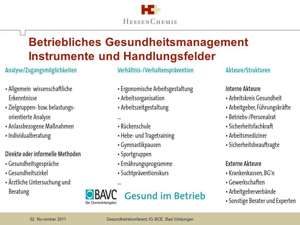 Betriebliches Gesundheitsmanagement Instrumente und Handlungsfelder Gesundheitskonferenz IG BCE, Bad Wildungen02.