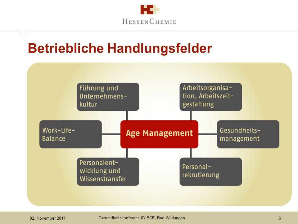 02. November 2011 Gesundheitskonferenz IG BCE, Bad Wildungen Betriebliche Handlungsfelder 6