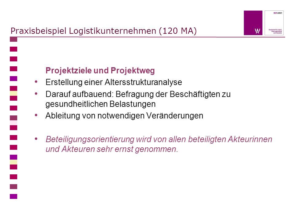 Praxisbeispiel Logistikunternehmen (120 MA) Projektziele und Projektweg Erstellung einer Altersstrukturanalyse Darauf aufbauend: Befragung der Beschäf