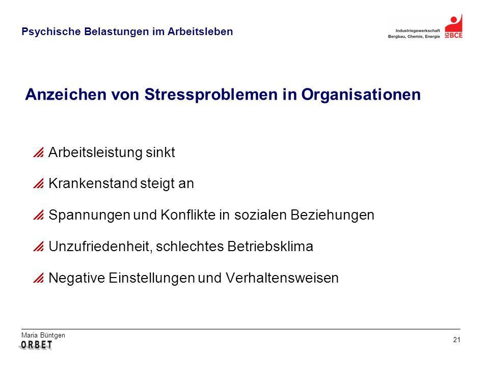 Maria Büntgen 21 Psychische Belastungen im Arbeitsleben Anzeichen von Stressproblemen in Organisationen Arbeitsleistung sinkt Krankenstand steigt an S