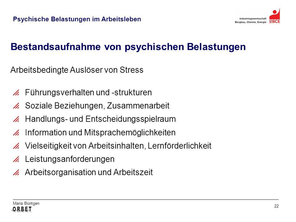 Maria Büntgen 22 Psychische Belastungen im Arbeitsleben Bestandsaufnahme von psychischen Belastungen Arbeitsbedingte Auslöser von Stress Führungsverha
