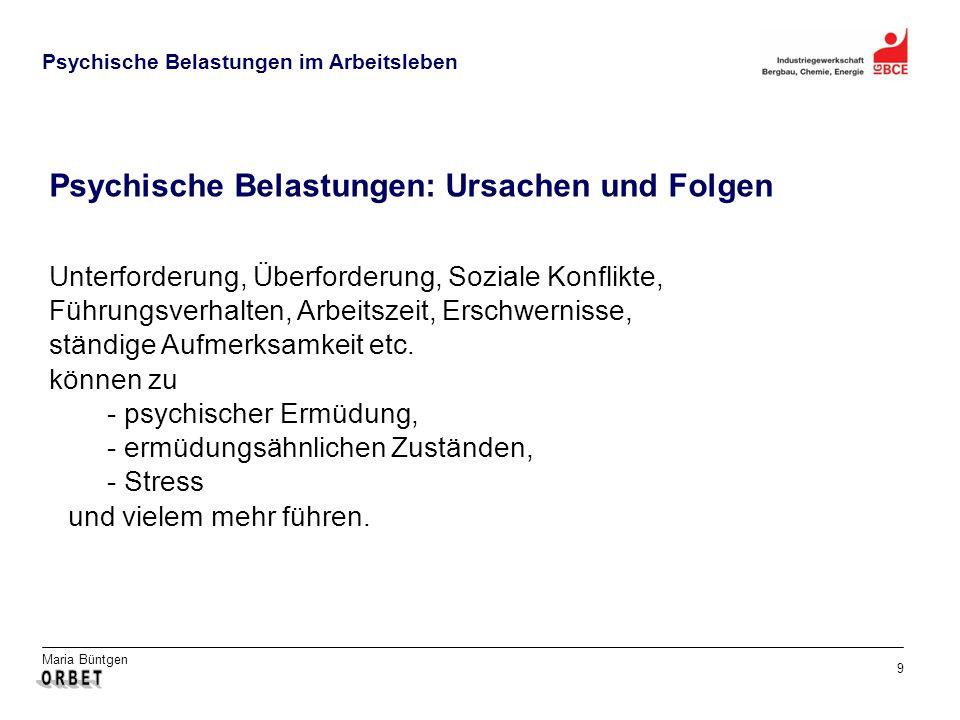 Maria Büntgen 9 Psychische Belastungen im Arbeitsleben Psychische Belastungen: Ursachen und Folgen Unterforderung, Überforderung, Soziale Konflikte, Führungsverhalten, Arbeitszeit, Erschwernisse, ständige Aufmerksamkeit etc.
