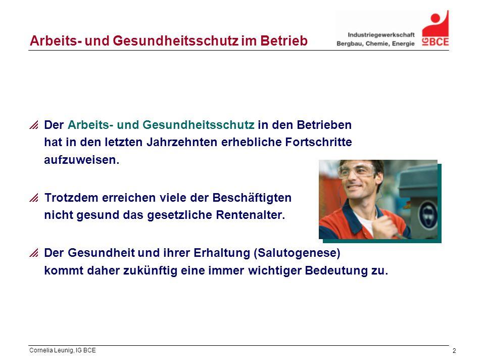 Cornelia Leunig, IG BCE 2 Arbeits- und Gesundheitsschutz im Betrieb Der Arbeits- und Gesundheitsschutz in den Betrieben hat in den letzten Jahrzehnten