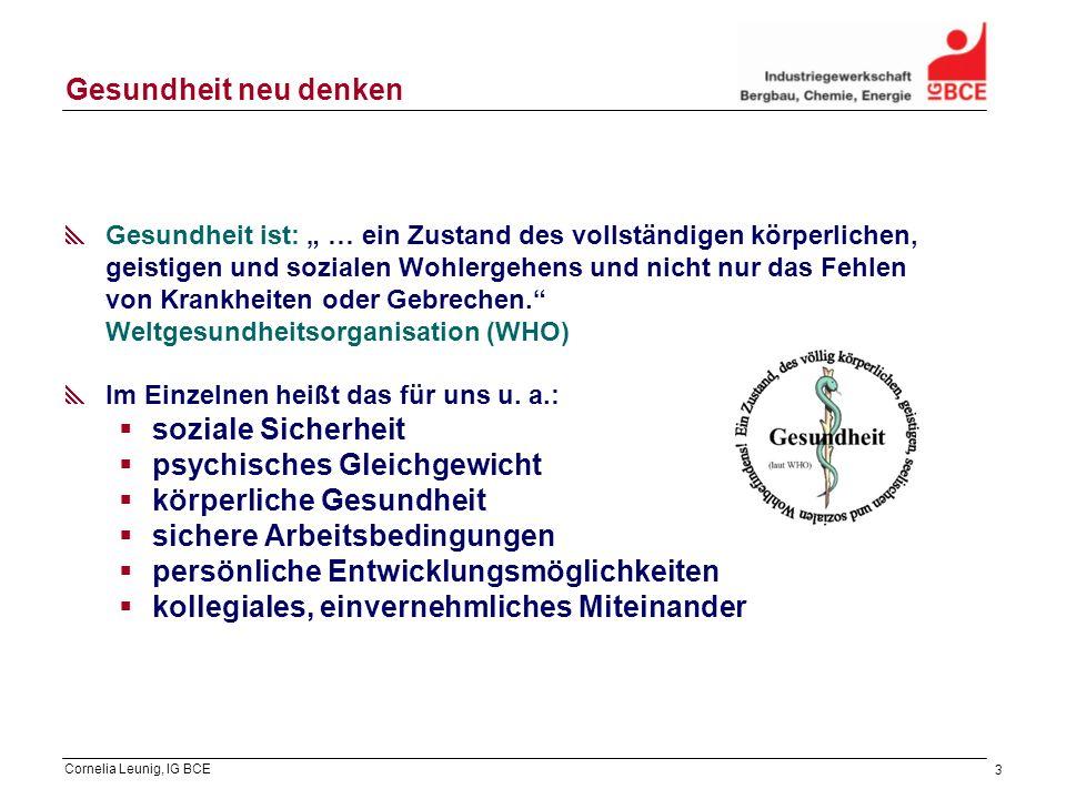 Cornelia Leunig, IG BCE 3 Gesundheit neu denken Gesundheit ist: … ein Zustand des vollständigen körperlichen, geistigen und sozialen Wohlergehens und