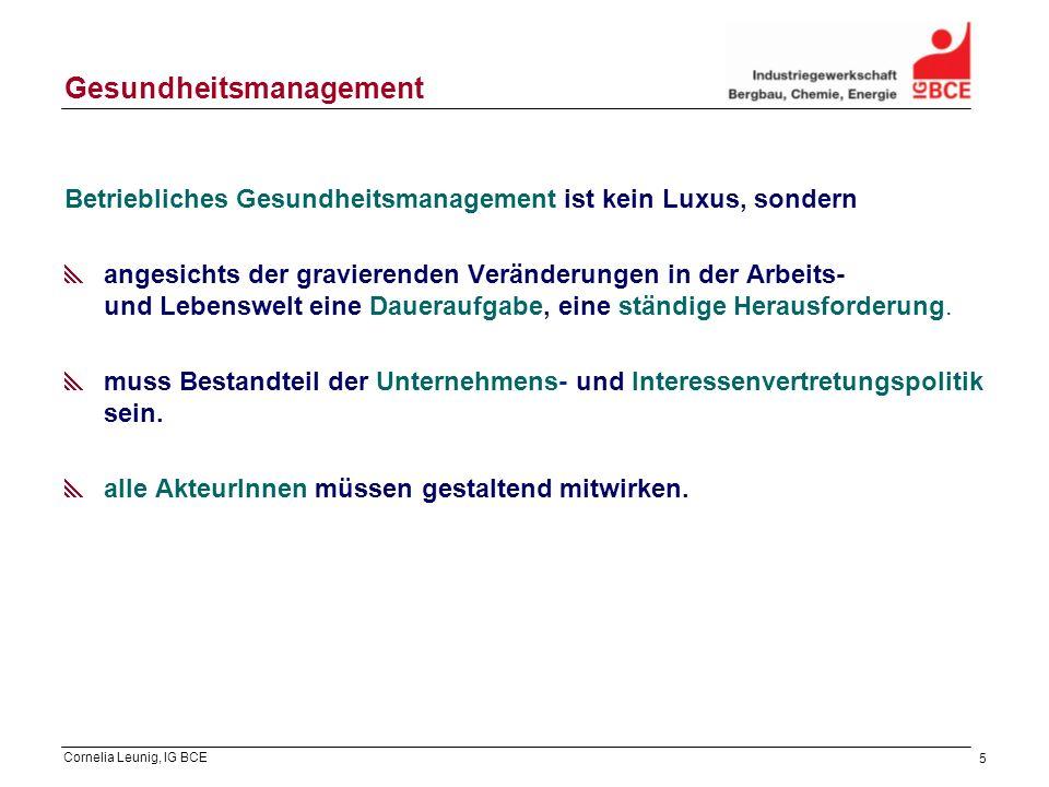 Cornelia Leunig, IG BCE 5 Gesundheitsmanagement Betriebliches Gesundheitsmanagement ist kein Luxus, sondern angesichts der gravierenden Veränderungen