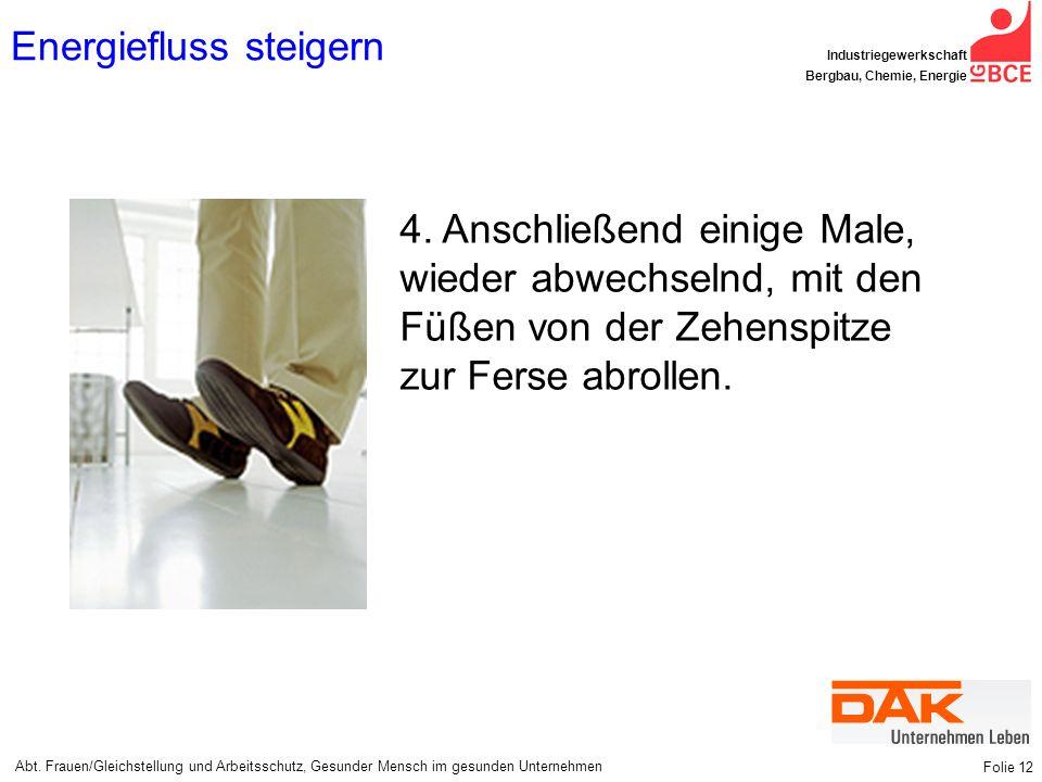 Abt. Frauen/Gleichstellung und Arbeitsschutz, Gesunder Mensch im gesunden Unternehmen Industriegewerkschaft Bergbau, Chemie, Energie Folie 12 Energief