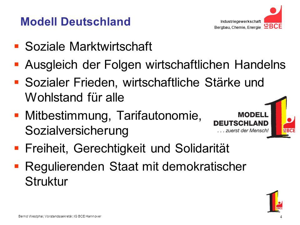 Bernd Westphal, Vorstandssekretär, IG BCE Hannover Industriegewerkschaft Bergbau, Chemie, Energie 5 Aktuelle Herausforderungen Globalisierung, Finanz-, Wirtschaftskrise Vertrauen in soz.
