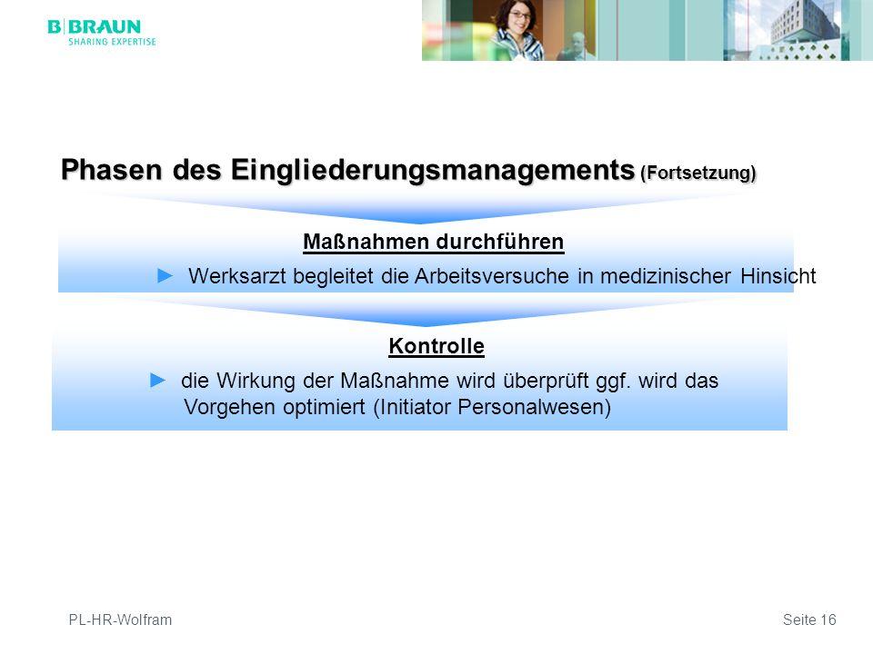 PL-HR-WolframSeite 16 Phasen des Eingliederungsmanagements (Fortsetzung) Maßnahmen durchführen Werksarzt begleitet die Arbeitsversuche in medizinischer Hinsicht Kontrolle die Wirkung der Maßnahme wird überprüft ggf.
