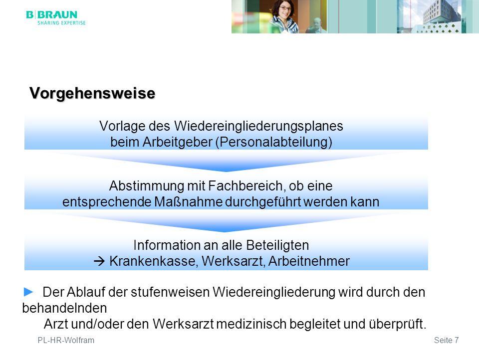 PL-HR-WolframSeite 7 Vorgehensweise Der Ablauf der stufenweisen Wiedereingliederung wird durch den behandelnden Arzt und/oder den Werksarzt medizinisch begleitet und überprüft.
