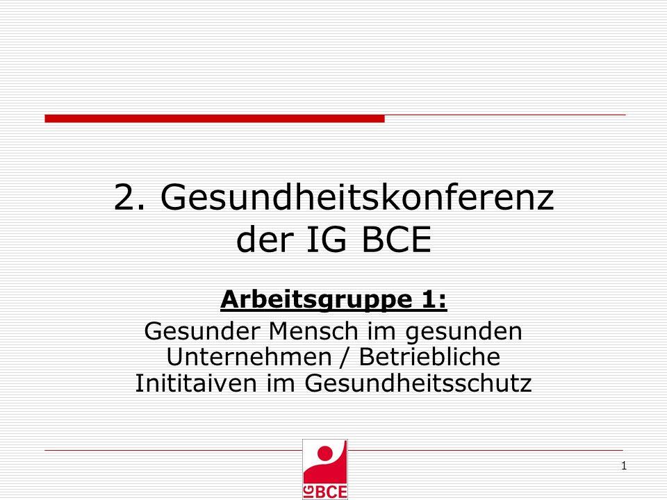 1 2. Gesundheitskonferenz der IG BCE Arbeitsgruppe 1: Gesunder Mensch im gesunden Unternehmen / Betriebliche Inititaiven im Gesundheitsschutz