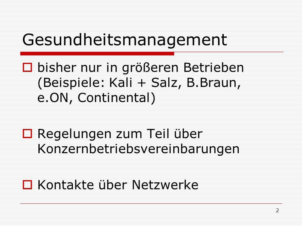 2 Gesundheitsmanagement bisher nur in größeren Betrieben (Beispiele: Kali + Salz, B.Braun, e.ON, Continental) Regelungen zum Teil über Konzernbetriebs