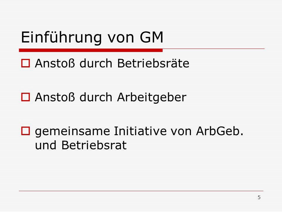 5 Einführung von GM Anstoß durch Betriebsräte Anstoß durch Arbeitgeber gemeinsame Initiative von ArbGeb. und Betriebsrat