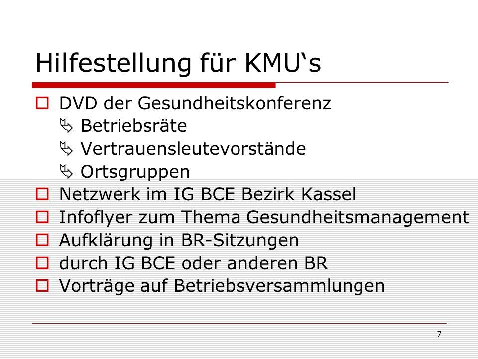 7 Hilfestellung für KMUs DVD der Gesundheitskonferenz Betriebsräte Vertrauensleutevorstände Ortsgruppen Netzwerk im IG BCE Bezirk Kassel Infoflyer zum