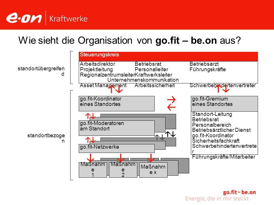 Wie sieht die Organisation von go.fit – be.on aus.