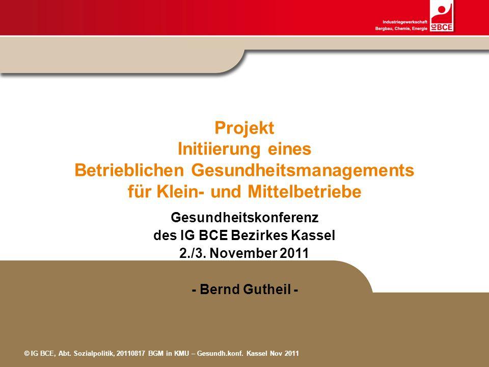 © IG BCE, Abt. Sozialpolitik, 20110817 BGM in KMU – Gesundh.konf. Kassel Nov 2011 Projekt Initiierung eines Betrieblichen Gesundheitsmanagements für K