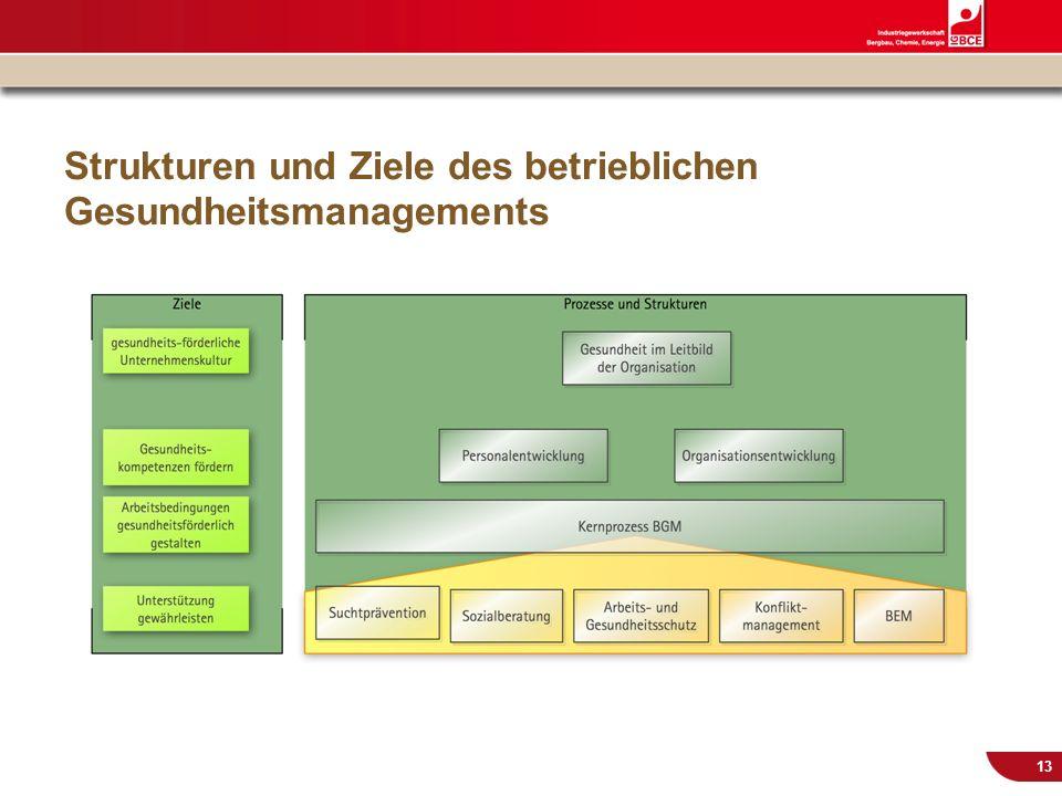 © IG BCE, Abt. Sozialpolitik, 20110817 BGM in KMU – Gesundh.konf. Kassel Nov 2011 13 Strukturen und Ziele des betrieblichen Gesundheitsmanagements