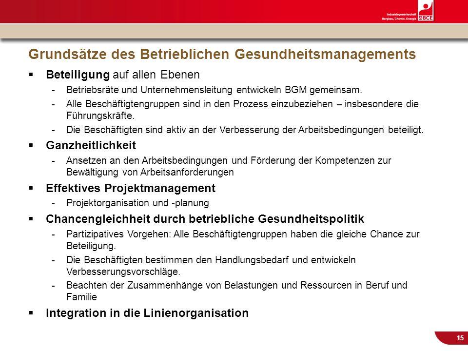 © IG BCE, Abt. Sozialpolitik, 20110817 BGM in KMU – Gesundh.konf. Kassel Nov 2011 15 Grundsätze des Betrieblichen Gesundheitsmanagements Beteiligung a