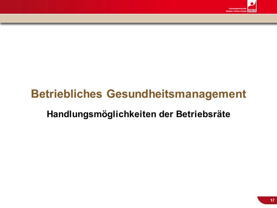 © IG BCE, Abt. Sozialpolitik, 20110817 BGM in KMU – Gesundh.konf. Kassel Nov 2011 17 Betriebliches Gesundheitsmanagement Handlungsmöglichkeiten der Be