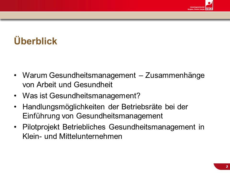 © IG BCE, Abt. Sozialpolitik, 20110817 BGM in KMU – Gesundh.konf. Kassel Nov 2011 22 Überblick Warum Gesundheitsmanagement – Zusammenhänge von Arbeit