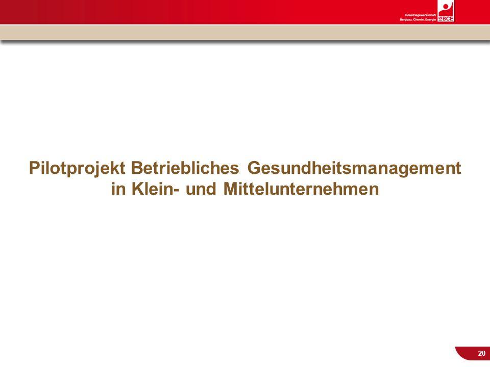© IG BCE, Abt. Sozialpolitik, 20110817 BGM in KMU – Gesundh.konf. Kassel Nov 2011 20 Pilotprojekt Betriebliches Gesundheitsmanagement in Klein- und Mi