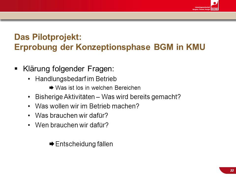 © IG BCE, Abt. Sozialpolitik, 20110817 BGM in KMU – Gesundh.konf. Kassel Nov 2011 22 Das Pilotprojekt: Erprobung der Konzeptionsphase BGM in KMU Kläru
