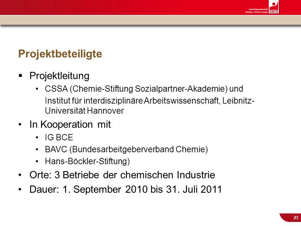 © IG BCE, Abt. Sozialpolitik, 20110817 BGM in KMU – Gesundh.konf. Kassel Nov 2011 23 Projektbeteiligte Projektleitung CSSA (Chemie-Stiftung Sozialpart