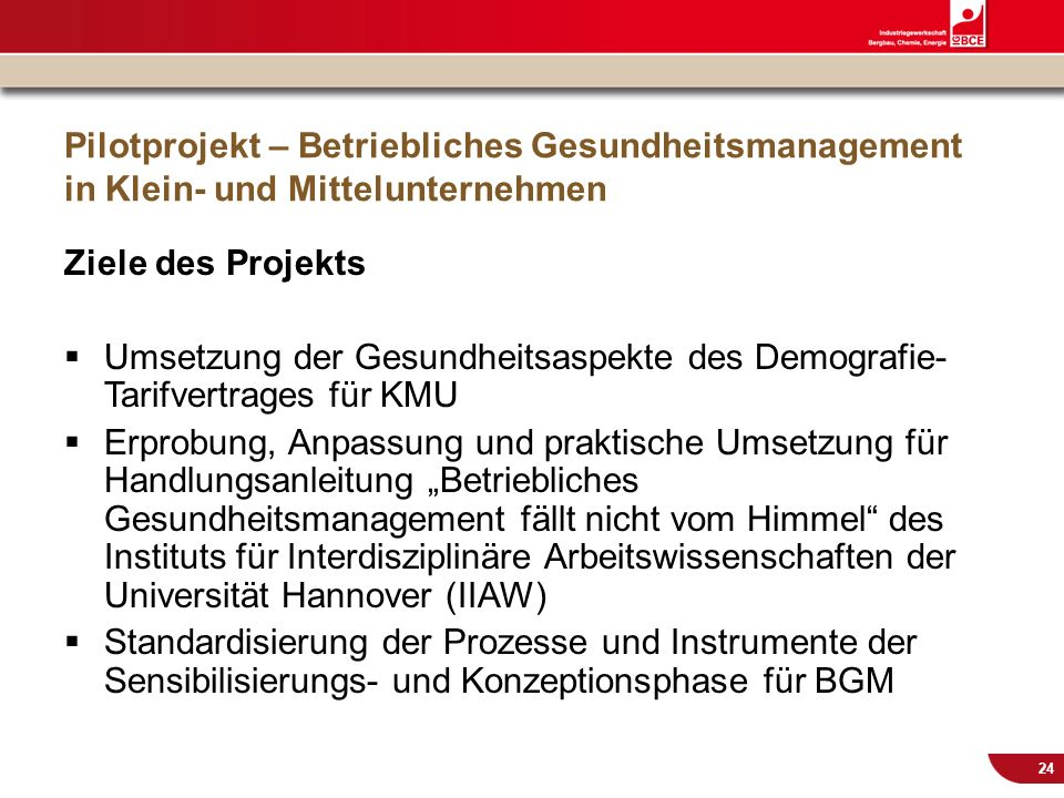 © IG BCE, Abt. Sozialpolitik, 20110817 BGM in KMU – Gesundh.konf. Kassel Nov 2011 24 Pilotprojekt – Betriebliches Gesundheitsmanagement in Klein- und