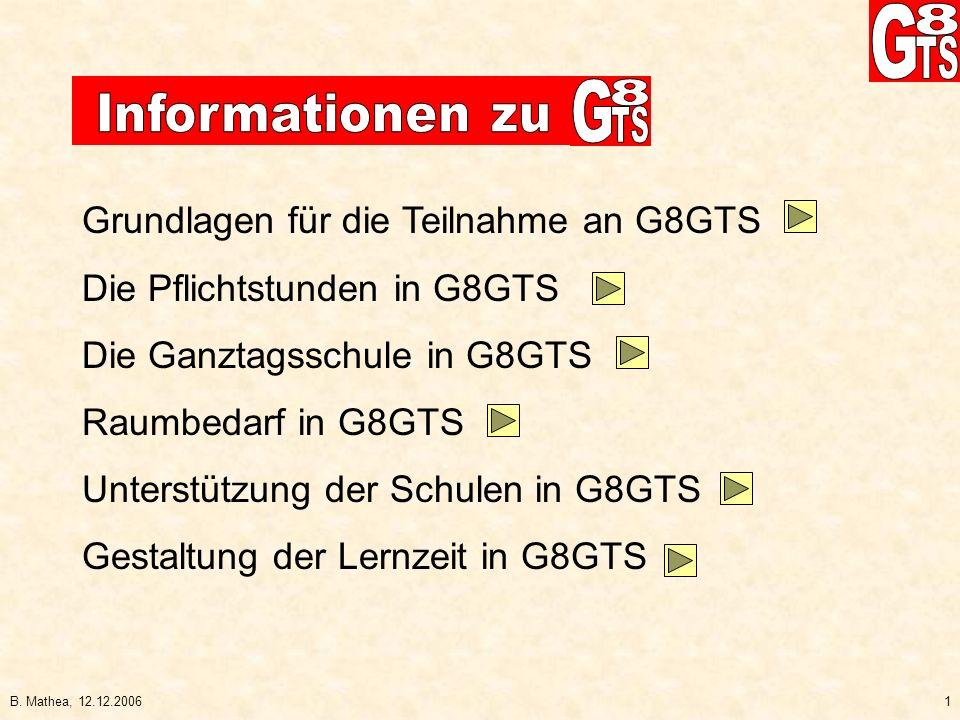 B. Mathea, 12.12.20061 Grundlagen für die Teilnahme an G8GTS Die Pflichtstunden in G8GTS Die Ganztagsschule in G8GTS Raumbedarf in G8GTS Unterstützung