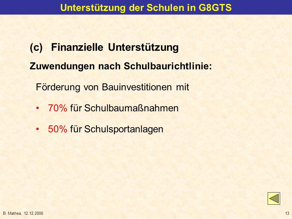 B. Mathea, 12.12.200613 Unterstützung der Schulen in G8GTS (c)Finanzielle Unterstützung Zuwendungen nach Schulbaurichtlinie: Förderung von Bauinvestit
