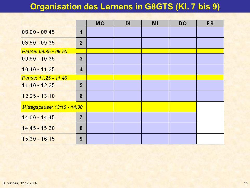 B. Mathea, 12.12.200615 Organisation des Lernens in G8GTS (Kl. 7 bis 9)