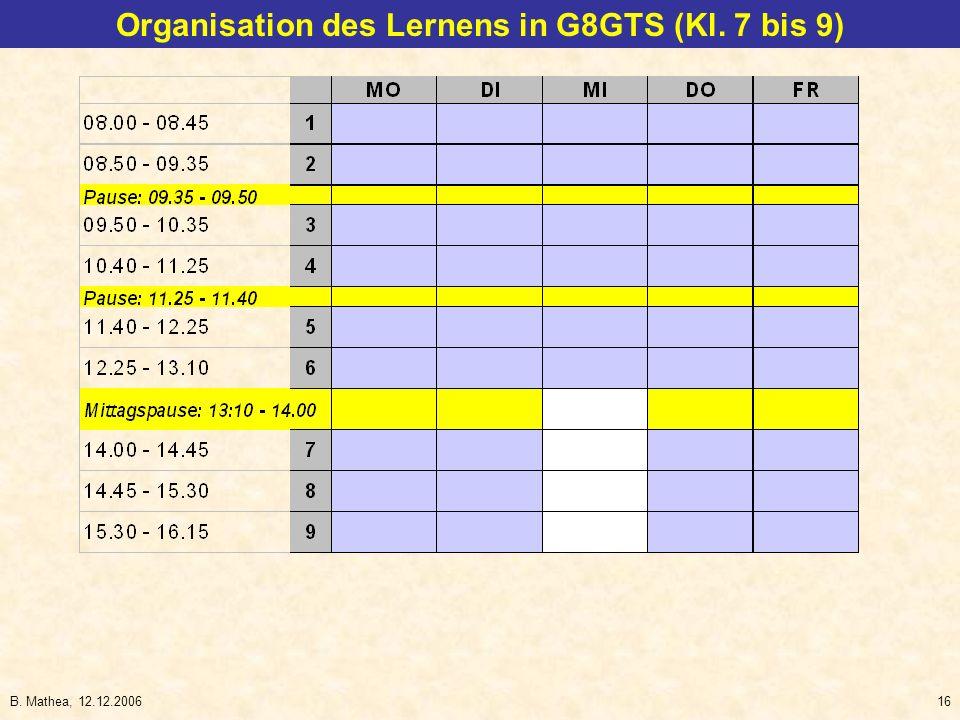 B. Mathea, 12.12.200616 Organisation des Lernens in G8GTS (Kl. 7 bis 9)