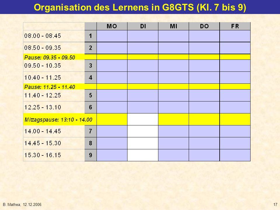 B. Mathea, 12.12.200617 Organisation des Lernens in G8GTS (Kl. 7 bis 9)