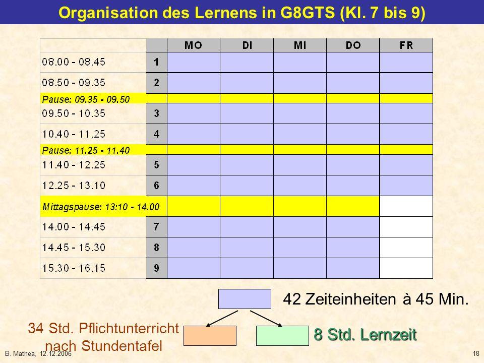 B. Mathea, 12.12.200618 42 Zeiteinheiten à 45 Min. 34 Std. Pflichtunterricht nach Stundentafel 8 Std. Lernzeit Organisation des Lernens in G8GTS (Kl.