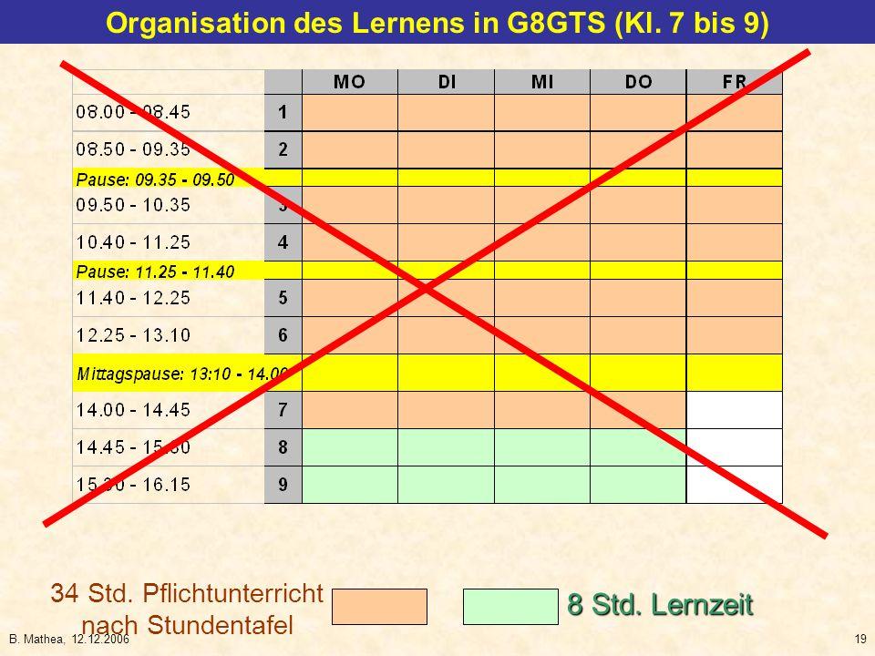 B. Mathea, 12.12.200619 34 Std. Pflichtunterricht nach Stundentafel 8 Std. Lernzeit Organisation des Lernens in G8GTS (Kl. 7 bis 9)