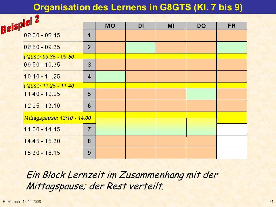 B. Mathea, 12.12.200621 Ein Block Lernzeit im Zusammenhang mit der Mittagspause; der Rest verteilt. Organisation des Lernens in G8GTS (Kl. 7 bis 9)